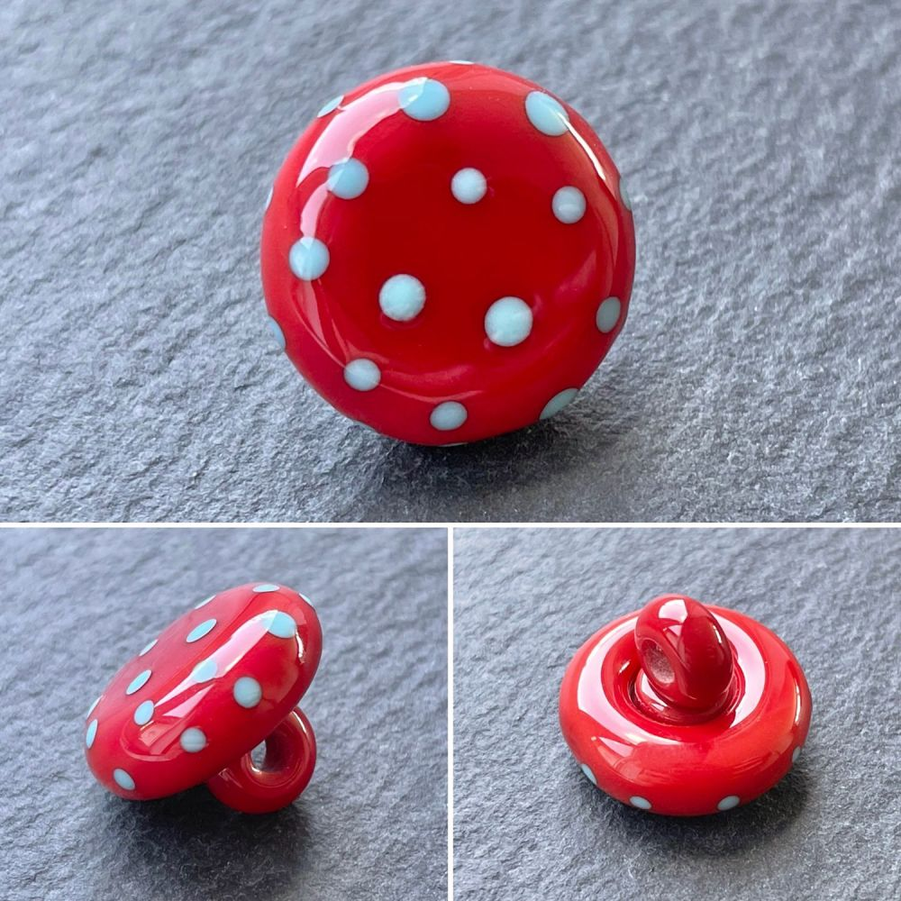 'Red & Blue' Spotty Button
