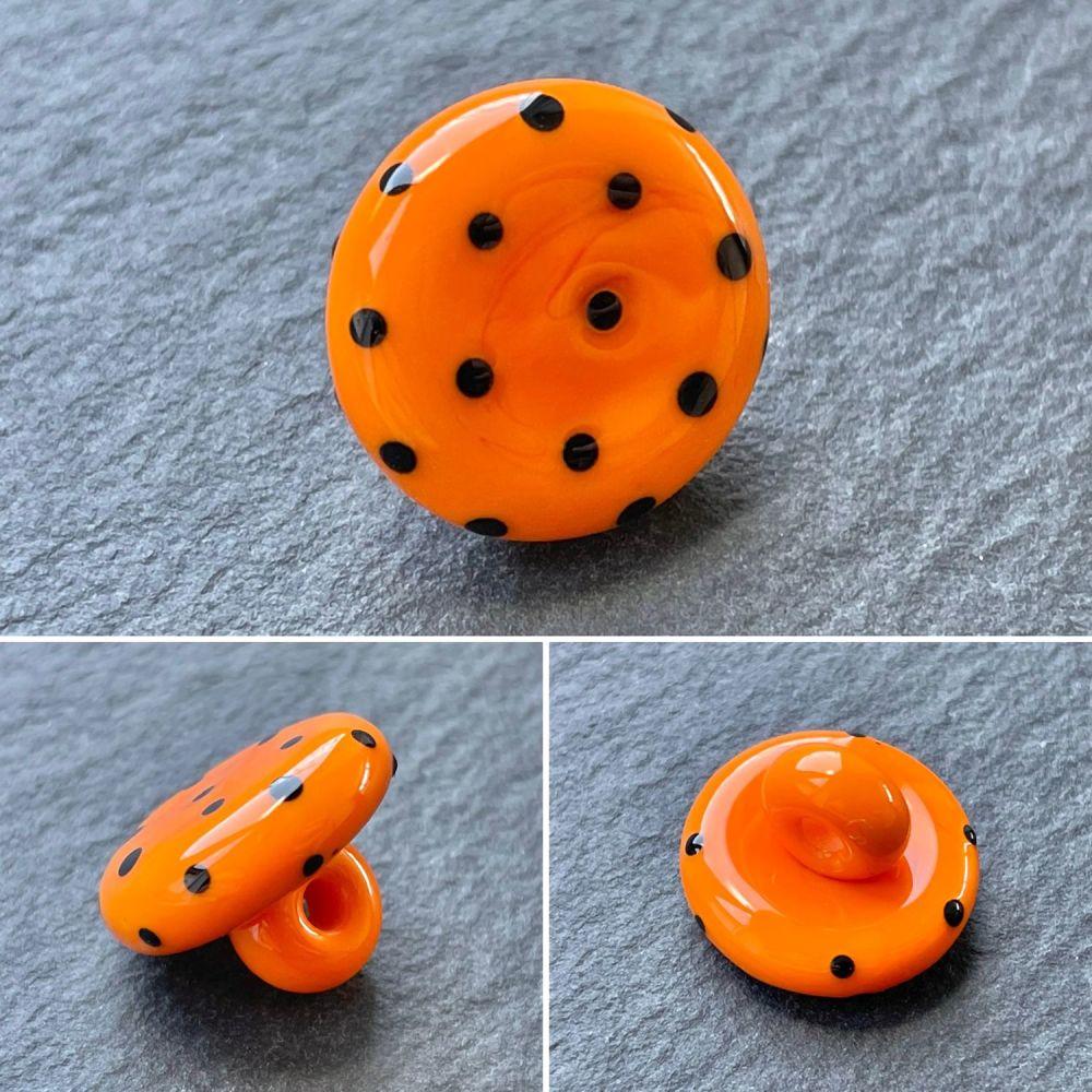 'Orange & Black' Spotty Button