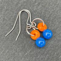 Orange & Blue 'Droplet' Earrings
