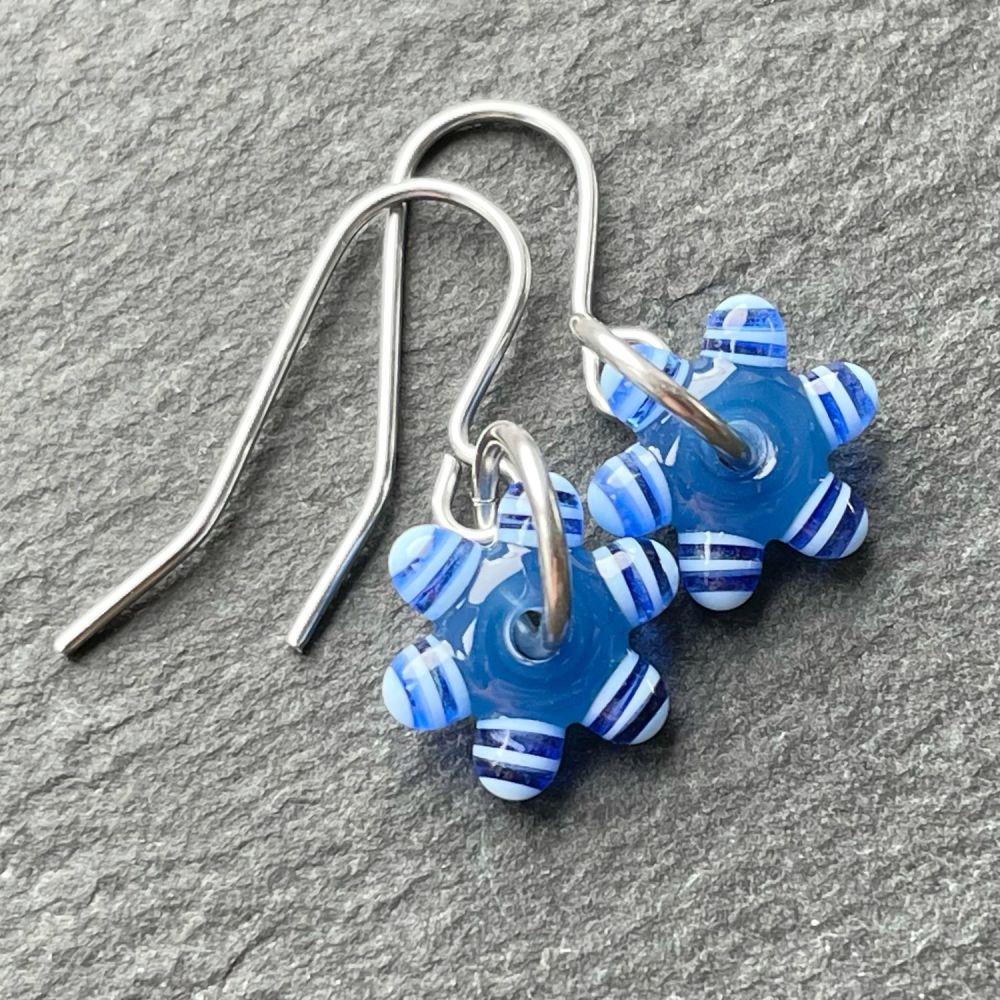 Blue 'Sprocket' Earrings