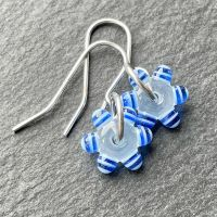 Misty Clear & Blue 'Sprocket' Earrings