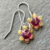 Fuchsia & Yellow 'Sprocket' Earrings
