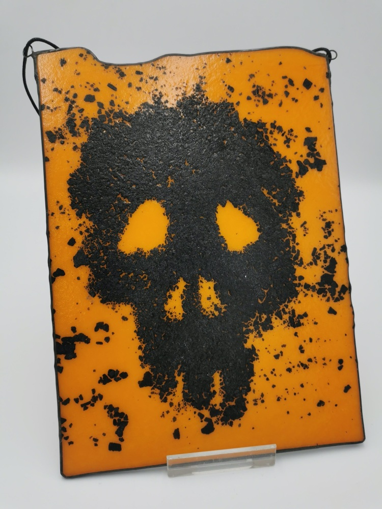 Orange Skull Art Piece