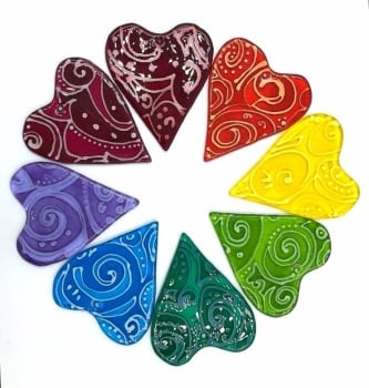 fused glass wafer Heart