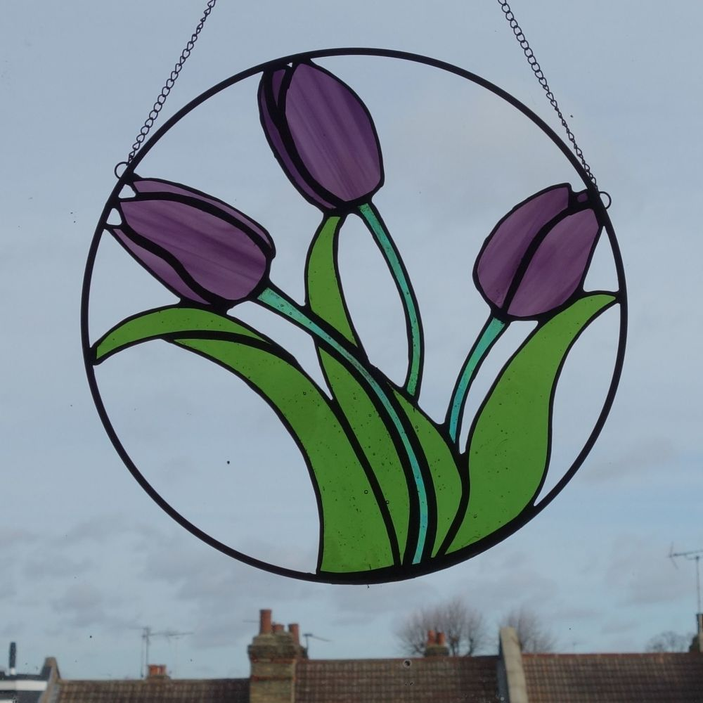 Stained glass tulip hoop