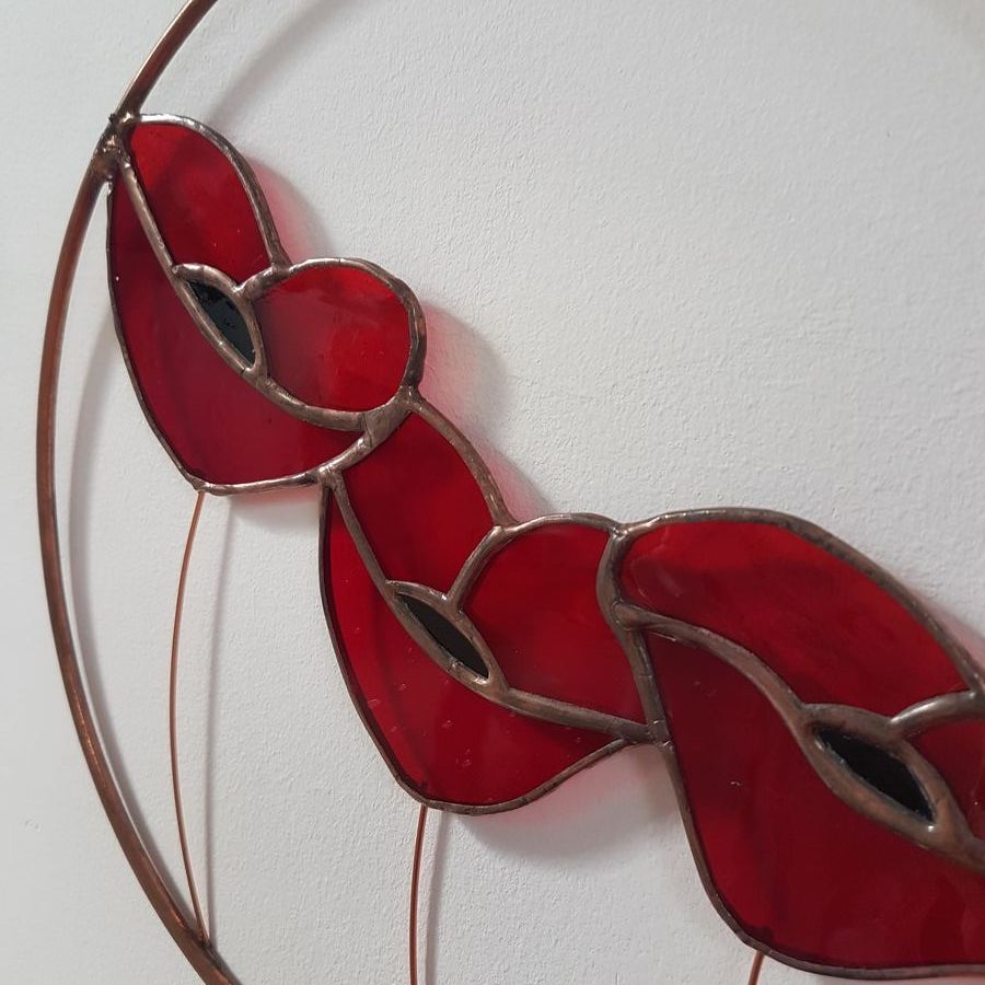 Stained glass poppy hoop