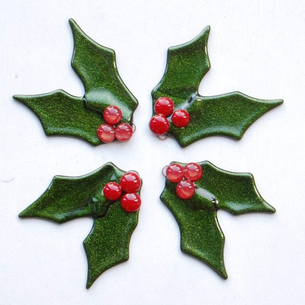 Fused glass holly