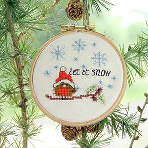christmas robin let it snow tree