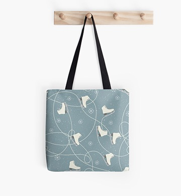 Redbubble ice skate blue tote bag
