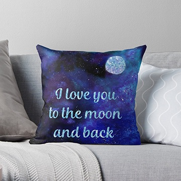 Redbubble love you to the moon and back throw pillow