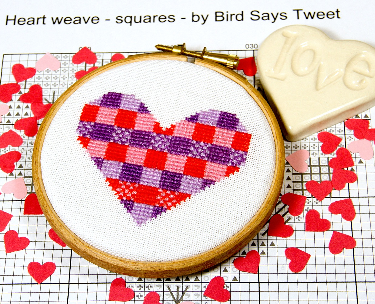 Bird Says Tweet Paintbox Collection heart cross stitch design