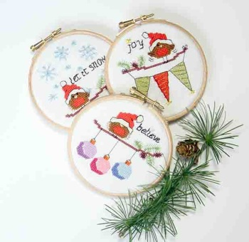 KIT OR CHART - Christmas Robins - set 1 - Let it snow, Joy and Believe