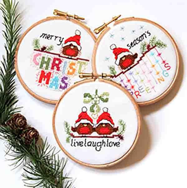 KIT OR CHART - Christmas Robins - set 2 - Live laugh love, Merry Christmas