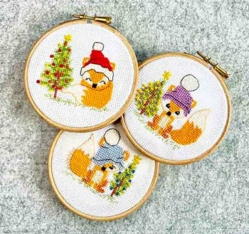 Christmas Foxes - Little scruffy fox blue, purple bobble hat fox & red Christmas hat fox