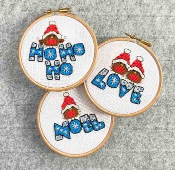 Christmas Robins - Noel - Ho Ho Ho & Love