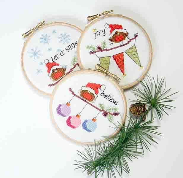 PDF - download - Christmas Robins set 1 - Believe, Joy & Let it snow