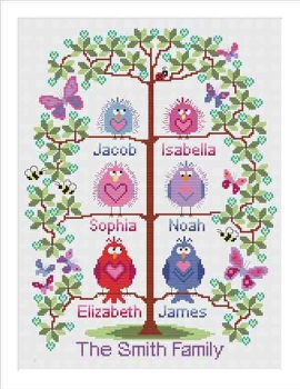 Family tree cross stitch for 6 - cute birds easy stitch fun modern design, anniversary / welcome a new baby - pattern PDF - INSTANT D
