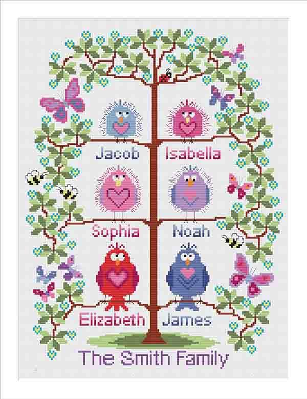 PDF - download - Family tree cross stitch for 6 - cute birds easy stitch fu