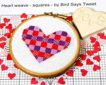 Heart weave - squares - by Bird Says Tweet - Paintbox Collection - easy stitch fun modern design for beginners, anniversary, wedding,