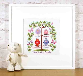 Family tree cross stitch for 4 - cute birds easy stitch fun modern design, anniversary / welcome a new baby - pattern PDF - INSTANT D