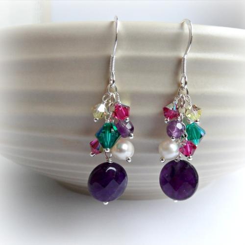 Jewel Cluster Earrings - in Amethyst