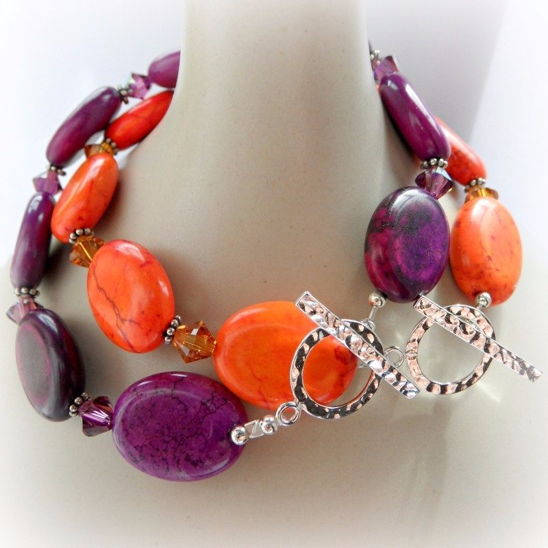 Purple and orange bracelets