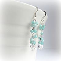 Amazonite Mint Cluster Earrings
