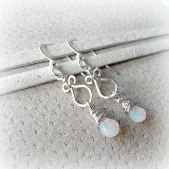 Opal Scroll Earrings