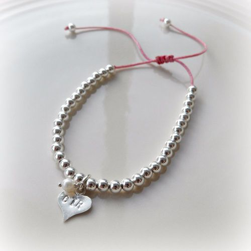 Personalised Heart Charm Silver Bead Friendship Bracelet - 4mm