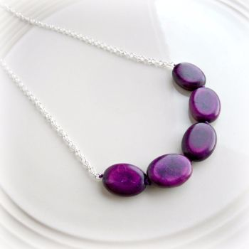 Blackcurrant Knotted Necklace