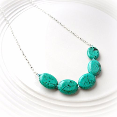 Green Turquoise Knotted Necklace
