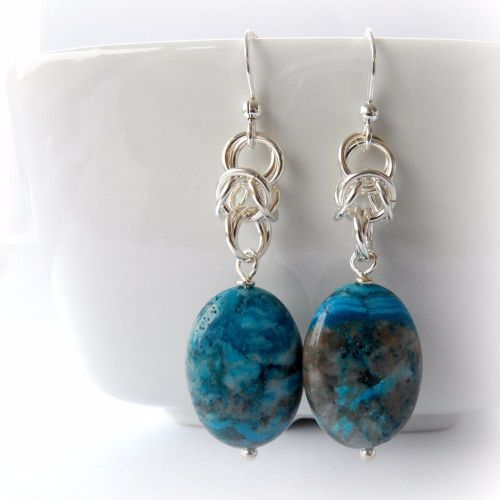 Crazy Lace Agate Chainmaille Earrings - ocean blue