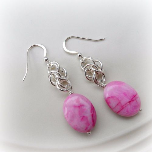 Pink Crazy Lace Agate Chainmaille Earrings