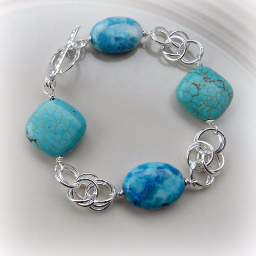 Blue Crazy Lace Agate & Turquoise Chainmaille Bracelet