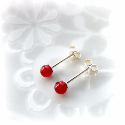 Carnelian Stud Earrings 4mm
