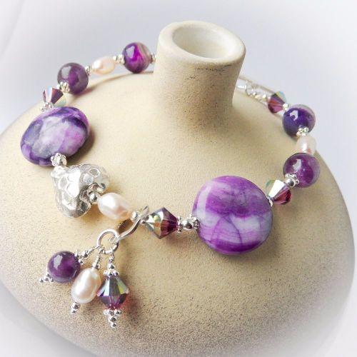 Purple Crazy Lace Agate Bracelet