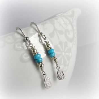 17SSTHTE Turquoise Hammered Tear Earrings 4_1000px