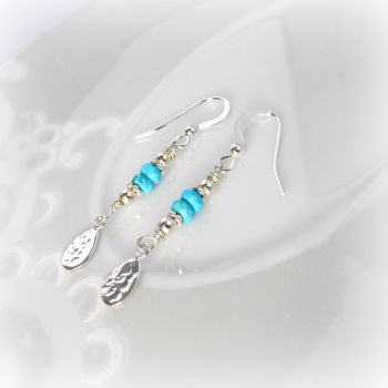 Turquoise Hammered Tear Earrings