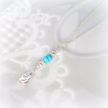 Turquoise Hammered Tear Necklace