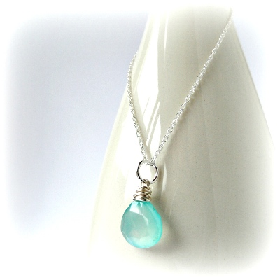 Aqua Teardrop Necklace