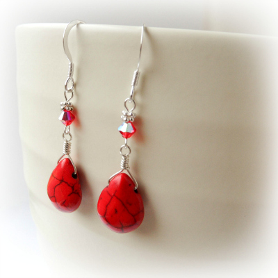 Red Turquoise Bali Earrings