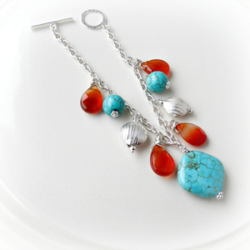 Turquoise and Agate Indian Summer Bracelet