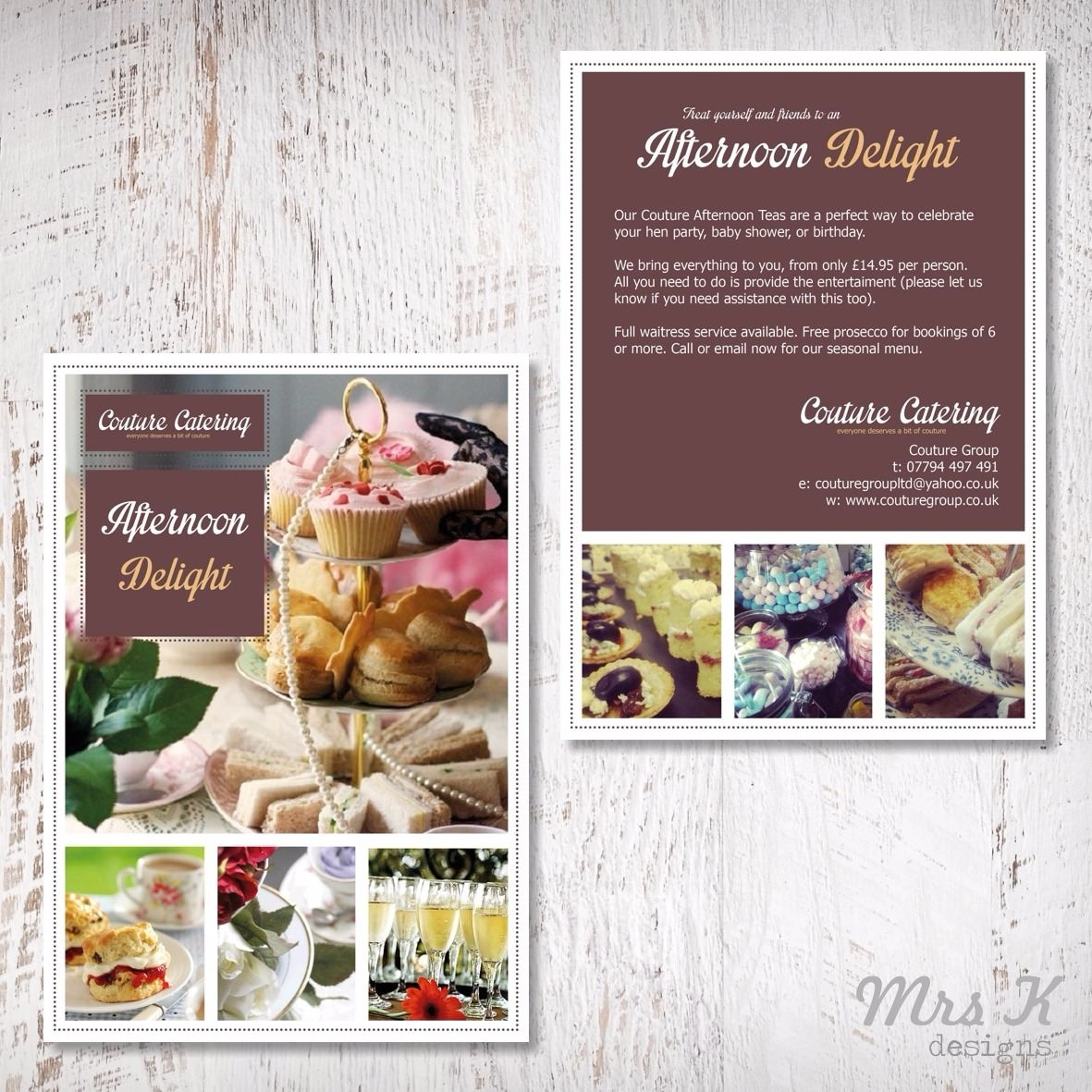 leaflets - couture bakehouse afternoon tea