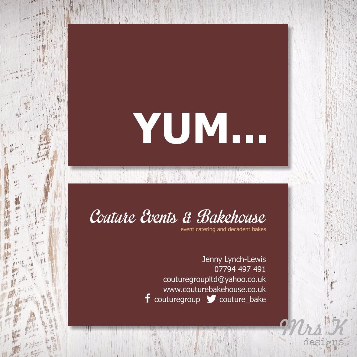 business cards - couture events and bakehouse