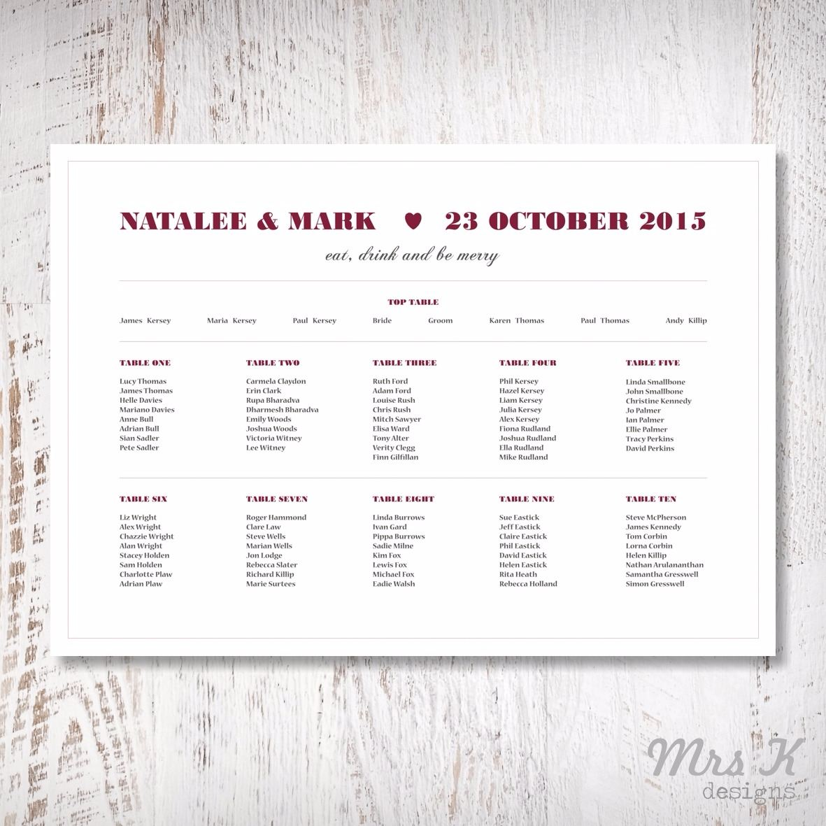 modern font wedding set - table plan
