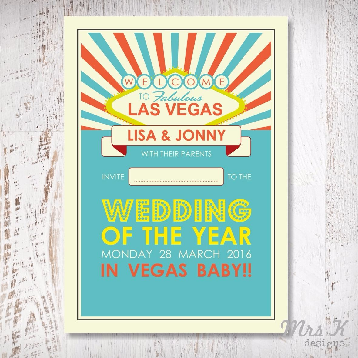 vegas wedding set - invitation page
