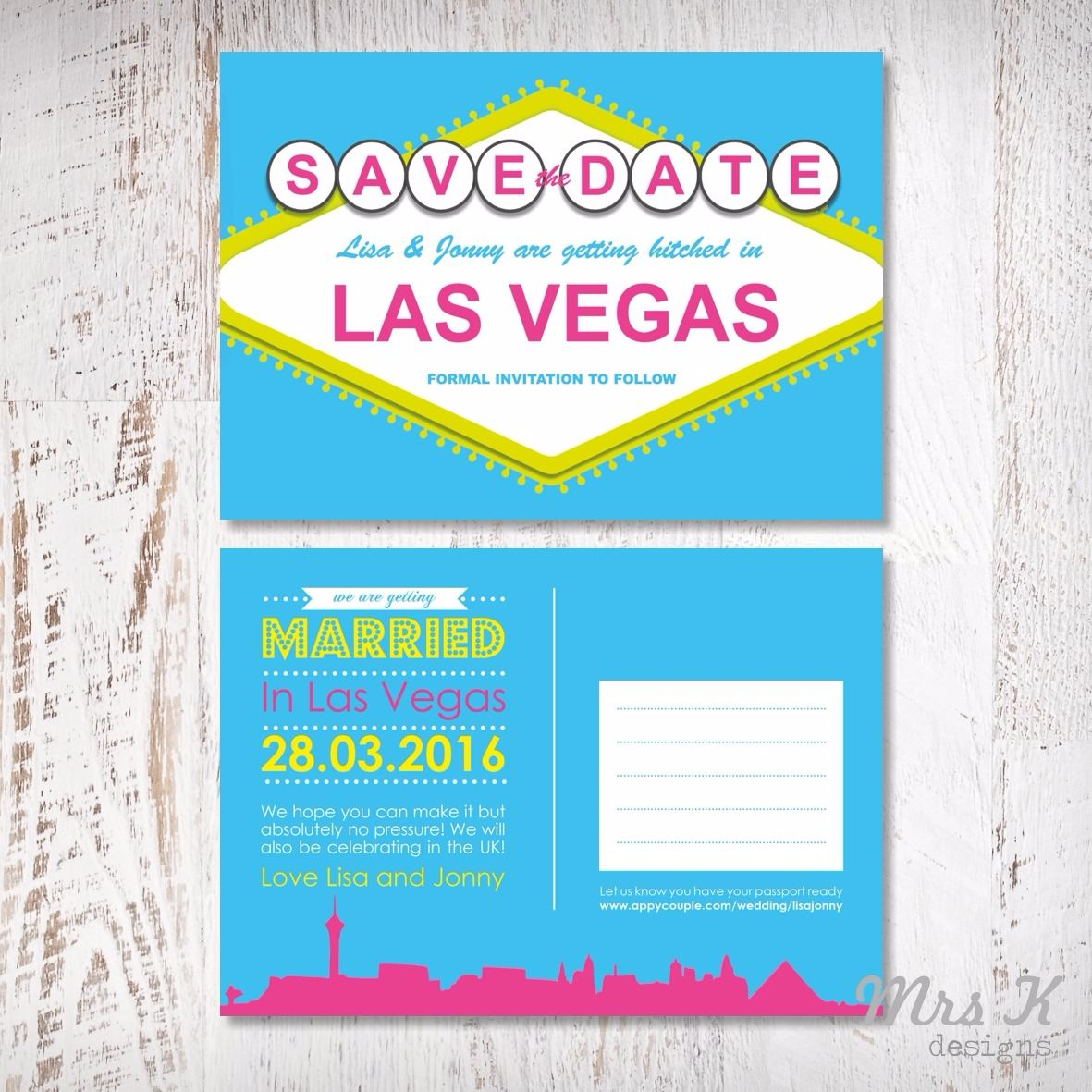 vegas wedding set - save the date