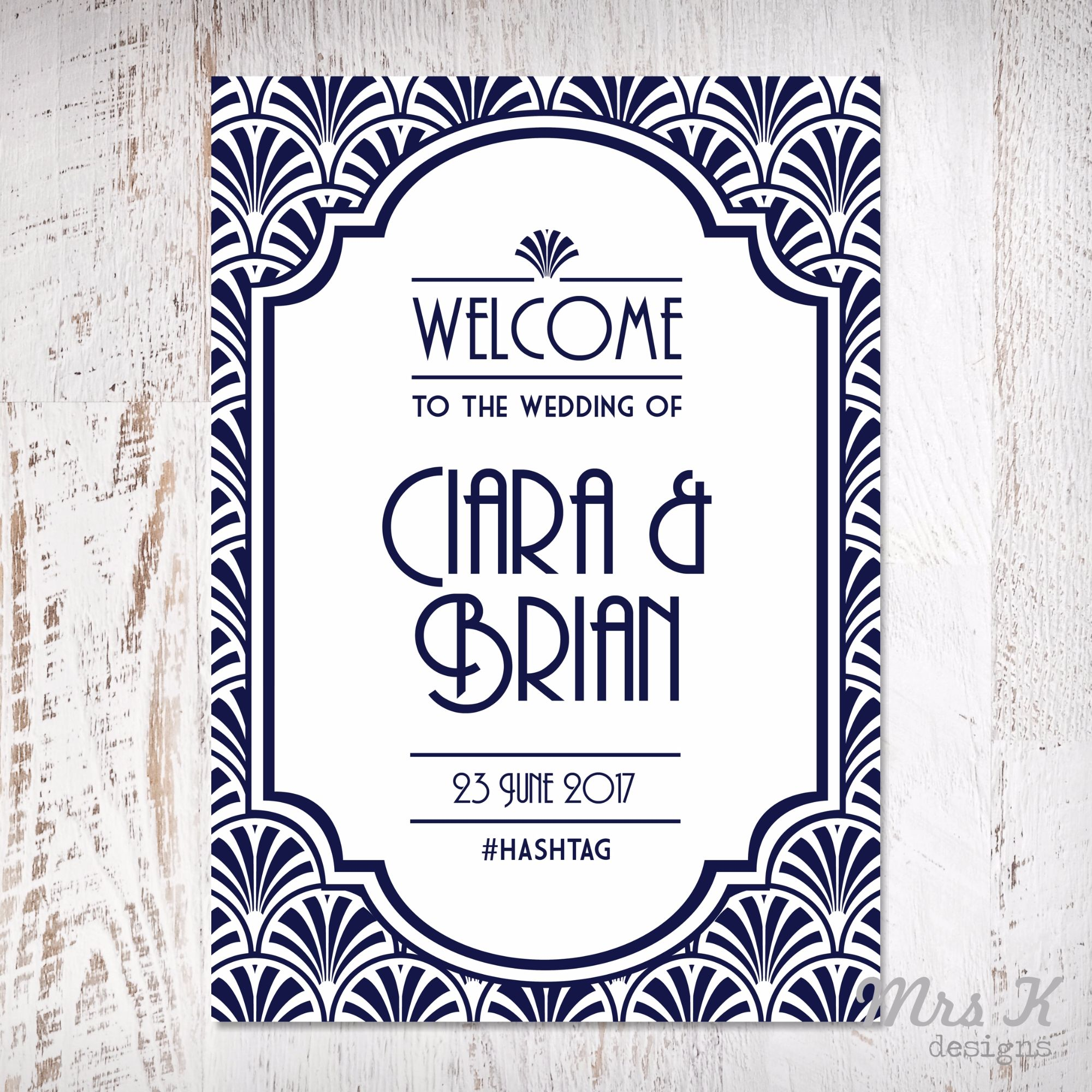 Art Deco Welcome Sign Navy