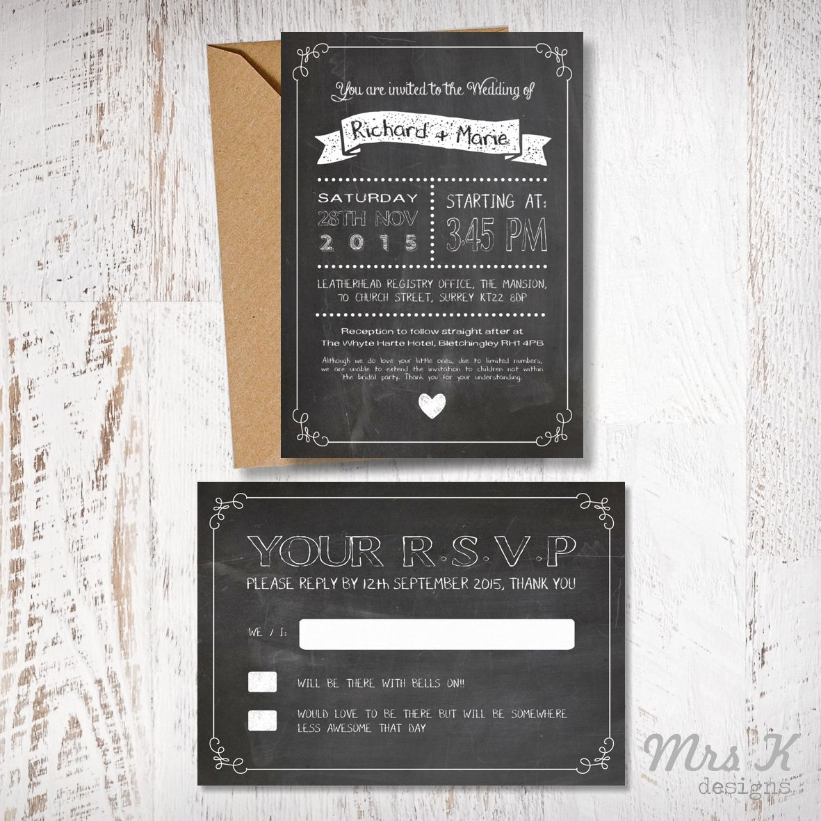Chalkbarod Wedding Invitation & RSVP