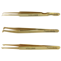 Gold Plated Tweezer Set Volume (Rounded L, Pro & XD) for Eyelash Extensions